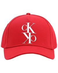 "Calvin Klein Baseballkappe Aus Baumwolle ""ck"" - Rot"