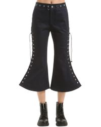 Angel Chen Flared Lace-up Cropped Pants - Blue