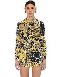 Versace Cropped Cotton Blend Denim Jacket - Multicolour