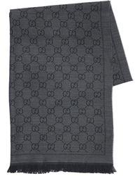 Gucci Écharpe en maille avec jacquard GG - Noir