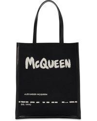 Alexander McQueen キャンバス&レザートートバッグ - ブラック
