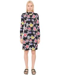 House of Holland - Rose Printed Viscose Jersey Dress - Lyst