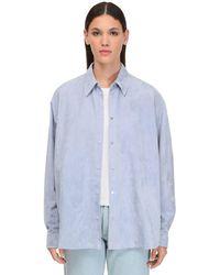 Loewe スエードシャツジャケット - ブルー
