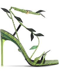 Versace 110mm Printed Snakeskin Leather Sandals - Green
