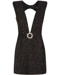 Azzaro Velvet Rhinestone Deep V Neck Mini Dress - Black