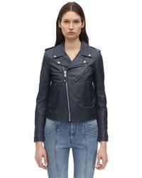 Schott Nyc Perfect Leather Biker Jacket - Blue