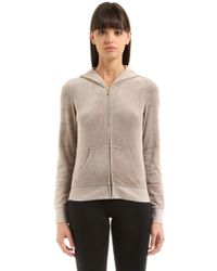 Juicy Couture - Crystal Logo Zip-up Velour Sweatshirt - Lyst