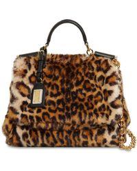 Dolce & Gabbana - Sicily Leopard Print Faux Fur Bag - Lyst