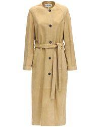 Loewe Замшевое Пальто - Естественный