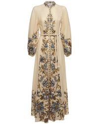 Zimmermann - Платье Из Льна С Принтом Aliane - Lyst