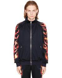 Moschino Flames Printed Studded Track Jacket - Black