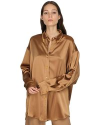 Sies Marjan Oversized Satin Shirt - Brown