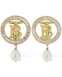 Burberry Tb Logo Baguette パールイヤリング - メタリック