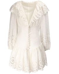 Zimmermann Bellitude スカラップドリネンミニドレス - ホワイト