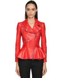 Alexander McQueen Кожаная Куртка С Баской - Красный