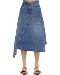 Loewe Asymmetric Cotton Denim Midi Skirt - Blue