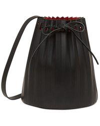 Mansur Gavriel Pleated Leather Bucket Bag - Schwarz