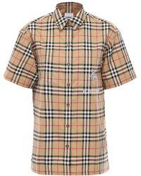 Burberry - Hemd Aus Baumwolltwill Mit Karodruck - Lyst