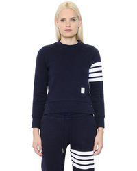 Thom Browne Baumwollsweatshirt Mit Streifen - Blau