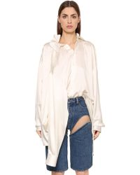 Y. Project - Oversized Silk Satin Shirt W/ 4 Sleeves - Lyst