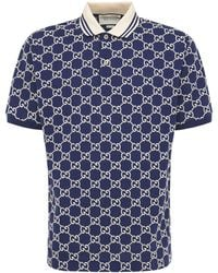 Gucci Gg Jacquard Stretch Cotton Polo - Blue