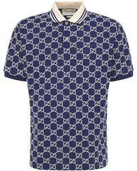 Gucci Gg Jacquard Stretch Cotton Polo - Blue