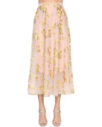 Delpozo Floral-embroidered Tulle Maxi Skirt - Multicolour