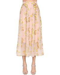 Delpozo 刺繍ミディスカート - マルチカラー