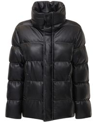 STAUD Ace Faux Leather Puffer Jacket - Black