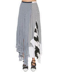 Loewe Striped Cotton Blend Jersey Skirt - Blue