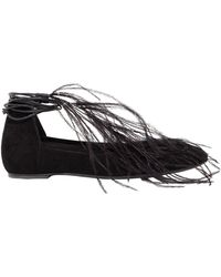 Ann Demeulemeester - 10mm Feather Suede Lace-up Ballerinas - Lyst