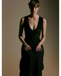 CASASOLA ビスコースブレンドドレス - ブラック