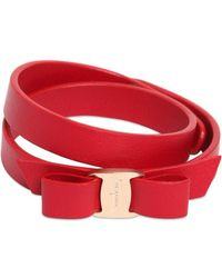 Ferragamo - Bow Leather Bracelet - Lyst