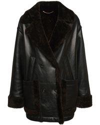 Agnona オーバーサイズシアリング&レザージャケット - ブラック