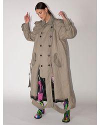 Maison Margiela Long Cotton Blend Trench Coat W/cutouts - Natural