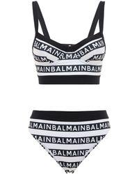 Balmain Bedruckter Bikini Mit Logo - Schwarz