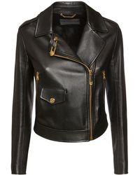 Versace レザーバイカージャケット - ブラック