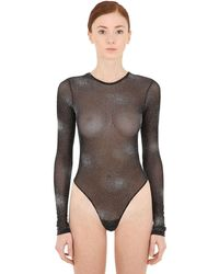 FANTABODY Crystal Embellished Tulle Bodysuit - Black