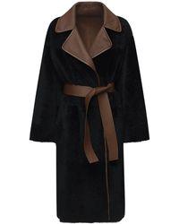 Blancha リバーシブルライトメリノシアリングコート - ブラック
