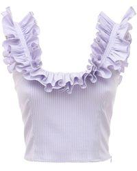 Luisa Beccaria Striped Cotton Blend Top W/ Ruffles - Purple