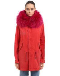 Mr & Mrs Italy | Midi Saline Cotton Canvas Parka W/ Fur | Lyst