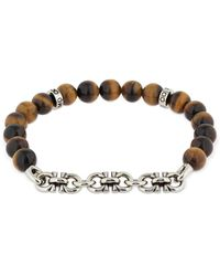 Ferragamo 19cm Armband Mit Logokette Und Tigerauge - Mettallic