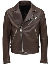 Tom Ford Giacca Biker In Pelle Lucida - Marrone