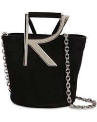Roger Vivier Rv Suede Bucket Bag - Black