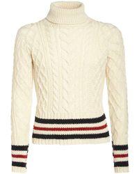 Thom Browne ウールケーブルニットセーター - ホワイト