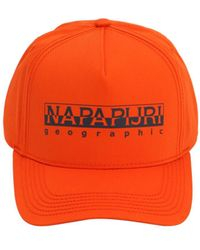 Napapijri Framing Cotton Blend Baseball Hat - Orange