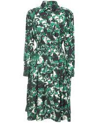 KENZO Vestito In Popeline Di Cotone E Seta - Verde