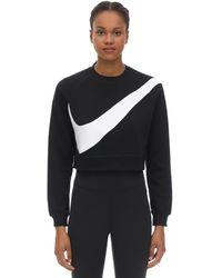 Nike Sudadera De Algodón Con Swoosh - Negro