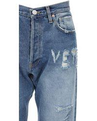 Vetements Jeans Aus Baumwolldenim Mit Rissen - Blau
