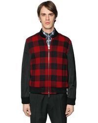 DSquared²   Check Wool & Nylon Sleeves Bomber Jacket   Lyst